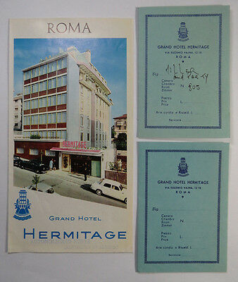 Grand Hotel Hermitage Rome Italy VTG Travel Brochure and Fold Out Maps