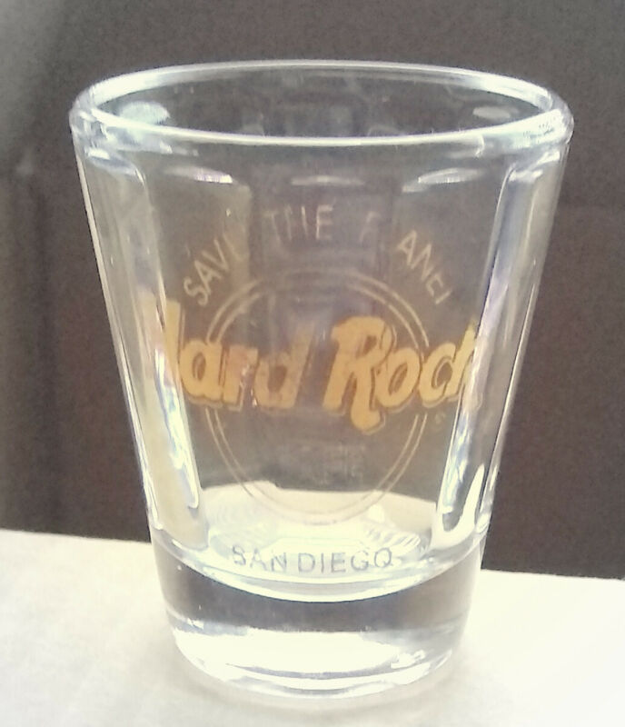"""Hard Rock Cafe Shot Glass, San Diego, 2 1/4"""", Gold Lettering, Save The Planet"""