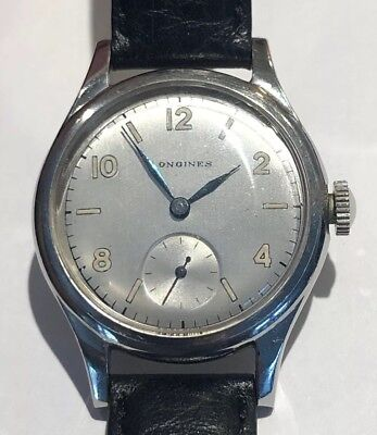 Vintage Military LONGINES Gents Wrist Watch S/S Case Original Cond. ca1940 (WW2)