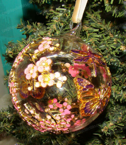 Cherry Blossom, Dragonfly, Butterfly Cloisonne (1300H) Enameled Glass Ornament
