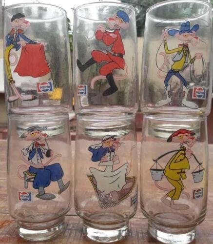 PINK PANTHER PEPSI COLA GLASS SET ARGENTINA (SOUTH AMERICA) RARE!!