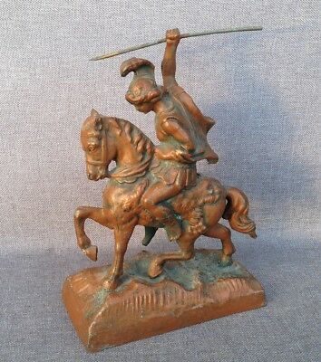 Antique french sculpture made of regule 19th century horsewoman lion horse