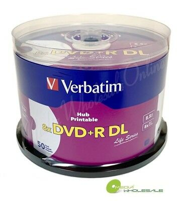 VERBATIM 8X Blank DVD+R DL Dual Double Layer 8.5GB 50 pk White Inkjet Printable