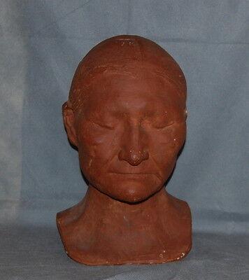 Antique Plaster Life Death Mask Bust Native American Terra Cotta Paint Finish