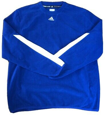 NWOT Adidas Mens Climawarm Pullover Sweater Blue & White - Soft Polyester Fleece