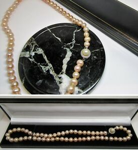New pink real freshwater pearl necklace with designer clasp in gift box