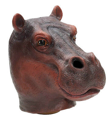 Giant Mask (Deluxe HIPPO MASK Jumbo Head Latex Rubber Jungle Animal Costume Hippopotamus )