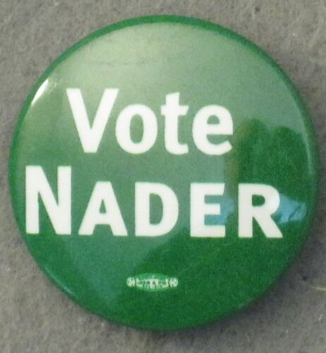 """ONE 1"""" RALPH NADER 2000 WHITE ON GREEN PRESIDENTIAL LITHOGRAPH CAMPAIGN BUTTON"""