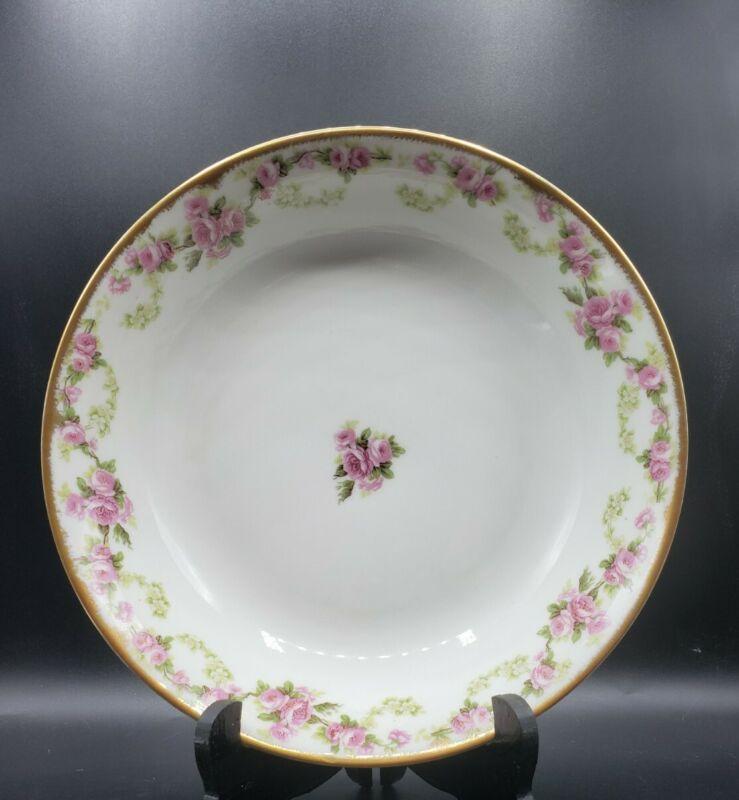 """Elite Works Limoges France 9-1/2"""" Bowl Serving Dish Pink Roses Gold Edge"""