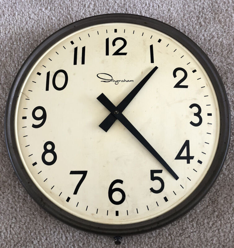 """Vintage Ingraham Industrial Wall Clock Wired 14"""" Model 30-2 Works Well Steampunk"""