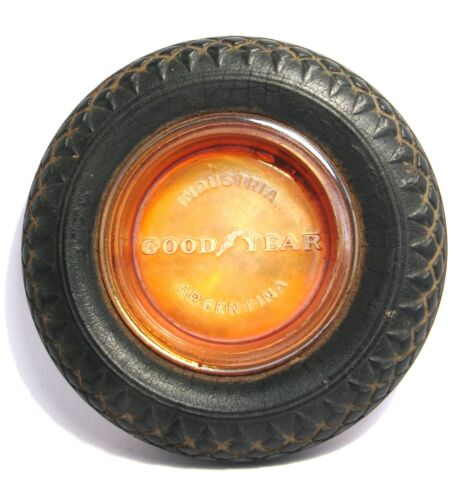 1930's GOOD YEAR Marigold Carnival Glass&Rubber Advertising Tire Ashtray/Trinket