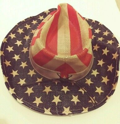 Red White And Blue Cowboy Hat (Cowboy Hat (One-Size) for Men Headwear NEW Red White Blue American)