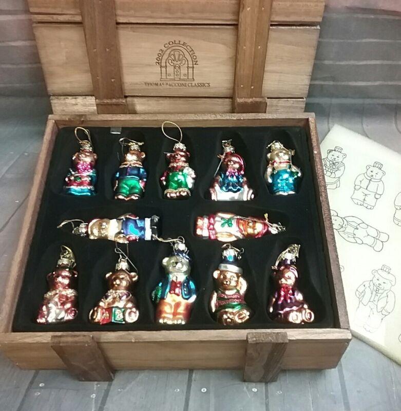 THOMAS PACCONI Classics 2002 Collection - Glass Christmas Bears SET OF 12