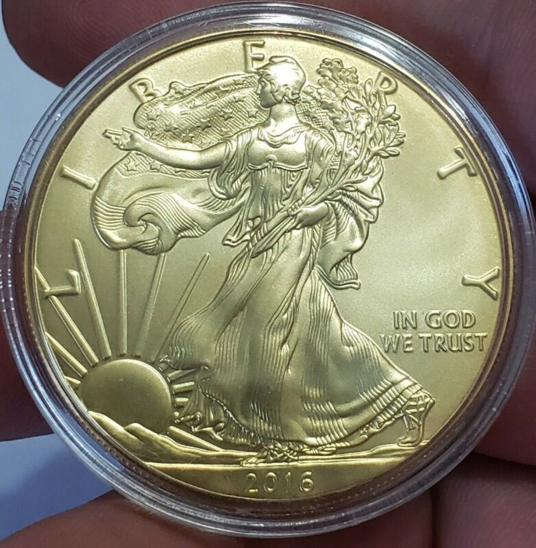 2016 1 Oz Silver $1 AMERICAN EAGLE Coin WITH 24K GOLD GILDED.