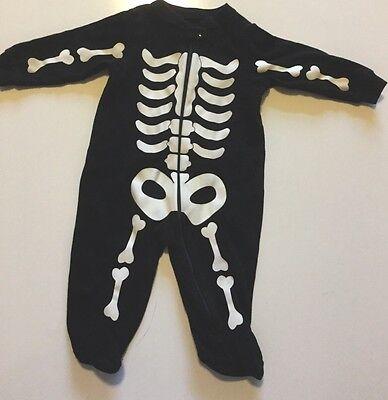 Skelett Halloween Kostüm Schwarz Weiß Reißverschluss Baby Sz 3 bis 6 Monate (Halloween-kostüme 3 6 Monate)