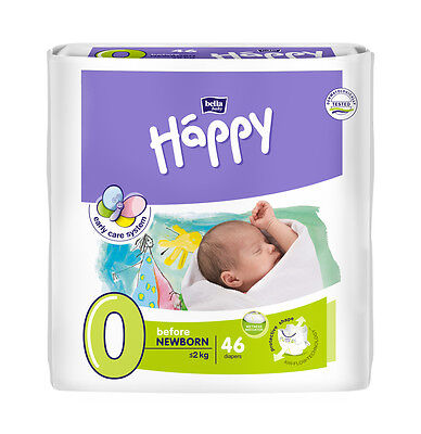 Bella Baby Happy Windeln Gr.0 (Before Newborn)  2 kg, Monatsbox, 276 Windeln