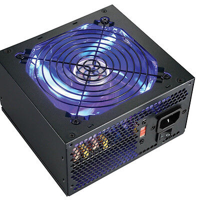New SHARK Blue LED 600W Quiet 120mm Fan 20/24pin ATX 12V 4/8-pin PC Power Supply