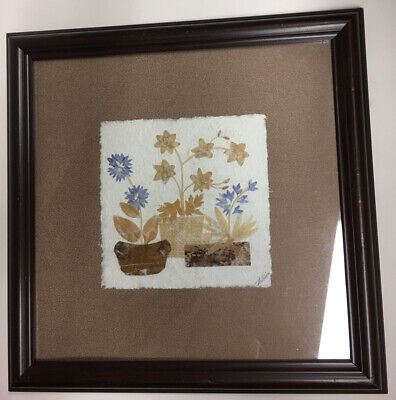 Framed Picture Dried Wild Flowers On Hand Made Paper Artist Signed  14""