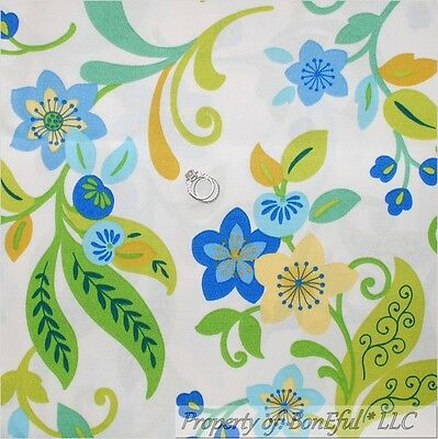 Boneful Fabric Fq Decor Woven White Blue Green Aqua Swirl Scroll Flower Leaf Dot