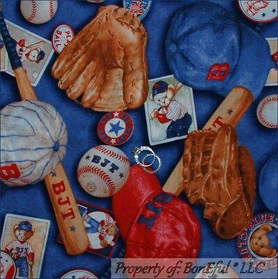 BonEful FABRIC FQ Cotton Blue Baby Boy Baseball Teddy Bear Bat Hat Leather Glove