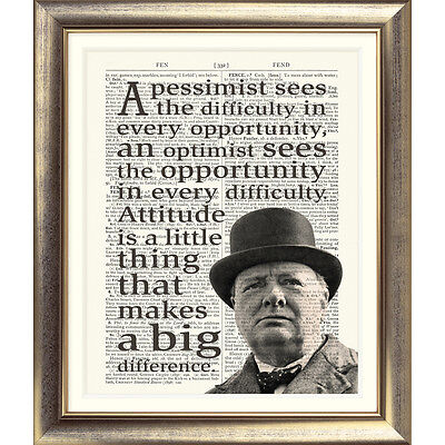 - ART PRINT ON  ANTIQUE DICTIONARY PAGE Sir Winston Churchill Quote Typographic