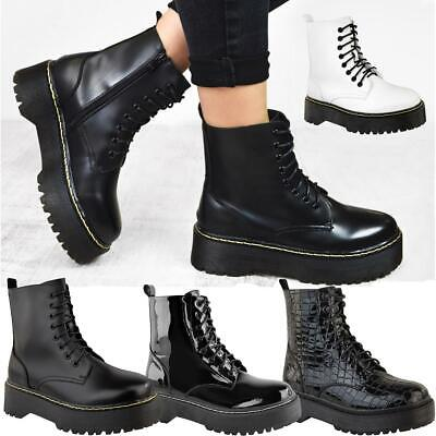 Ladies Womens Chunky Doc Retro Platform Lace Up Punk Icon Ankle Boots Shoes Size