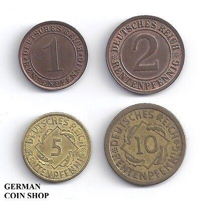 Set 1, 2, 5 und 10 Rentenpfennig 1923 - 1924 - Deutsches Reich Weimarer Republik gebraucht kaufen  Frankfurt