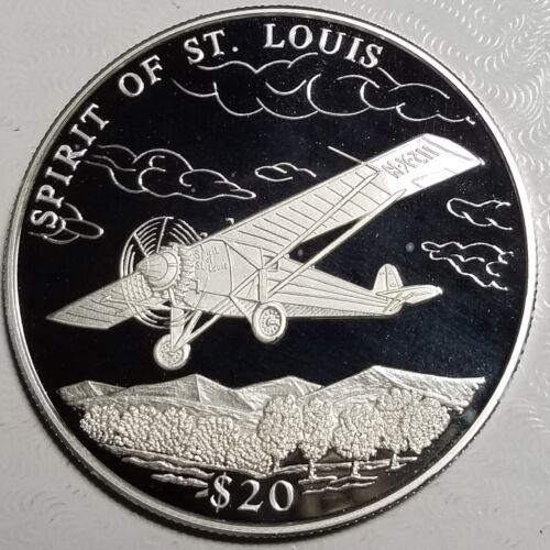 2000 Liberia $20 SPIRIT OF ST. LOUIS Proof-SILVER-Free USA Ship