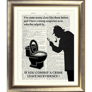 FUNNY-TOILET-SIGN-SHERLOCK-HOLMES-Art-Print-on-Original-Book-Page-Conan-Doyle