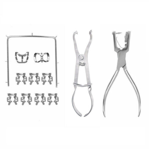 Rubber Dam Kit Starter of 12 Pcs  with Frame Punch Clamps Dental Instruments