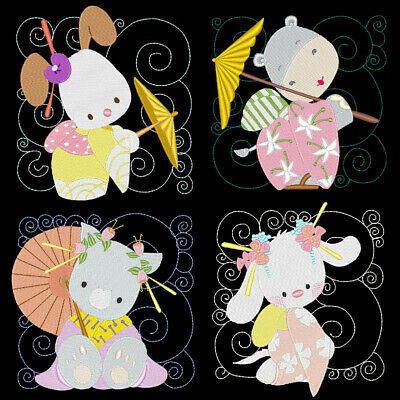 GEISHA ANIMALS -4inch -12 Machine Embroidery Designs CD (FREE SHIPPING) ()