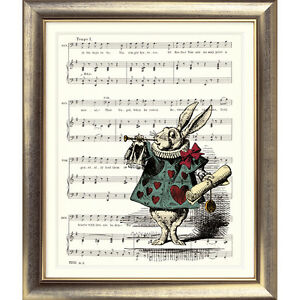 ART-PRINT-ORIGINAL-VINTAGE-MUSIC-SHEET-Page-WHITE-RABBIT-Alice-in-Wonderland-Old