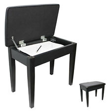 APKB-200 Padded Piano/Keyboard Bench with Music Storage (Black)