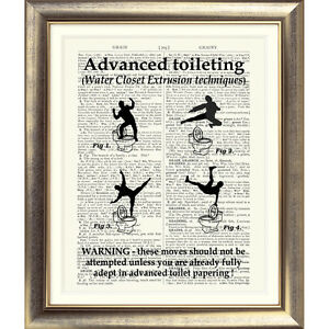 ... SIGN-ART-PRINT-ON-ORIGINAL-ANTIQUE-BOOK-PAGE-Bathroom-Funny-Rude-Gift