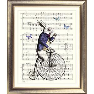 ART-PRINT-ORIGINAL-VINTAGE-MUSIC-SHEET-Page-White-Rabbit-ALICE-IN-WONDERLAND-Old