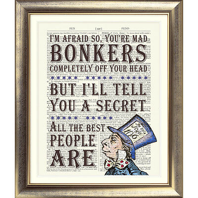 DICTIONARY PAGE ART PRINT VINTAGE ANTIQUE BOOK Alice in Wonderland Mad Hatter