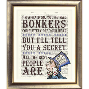 ART-PRINT-ANTIQUE-BOOK-PAGE-DICTIONARY-Alice-in-Wonderland-MAD-HATTER-Bonkers
