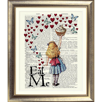 ART PRINT ON ORIGINAL ANTIQUE BOOK PAGE Vintage Alice in Wonderland Picture Wall