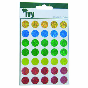 IVY Dot Labels Holographic Shiny Self Adhesive Circle Stickers Primary Colours