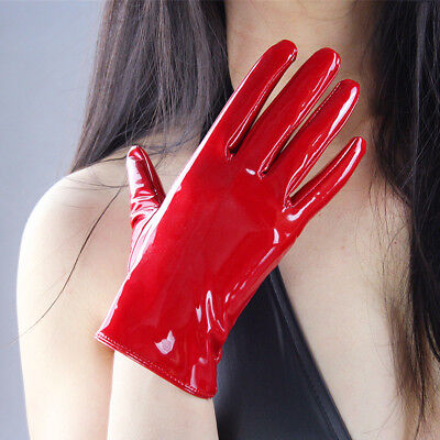 Shine Red Gloves Faux Patent Leather Wrist Long Short Black Brown Touchscreen](Red Long Gloves)