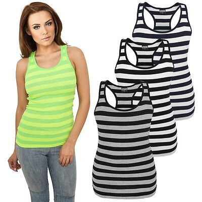 URBAN CLASSICS LADIES STRIPE TANK TOP Rib Shirt gestreift Damen Jersey Stretch  - Rib Tank Top