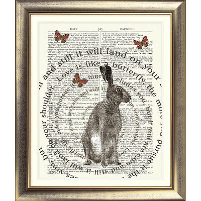 ART PRINT ON ORIGINAL ANTIQUE BOOK PAGE Hare Dictionary Typographic Wall Poster
