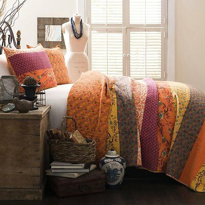 ROYAL EMPIRE Full Queen QUILT SET : ORANGE YELLOW BIRDS ASIAN FLORAL GEOMETRIC