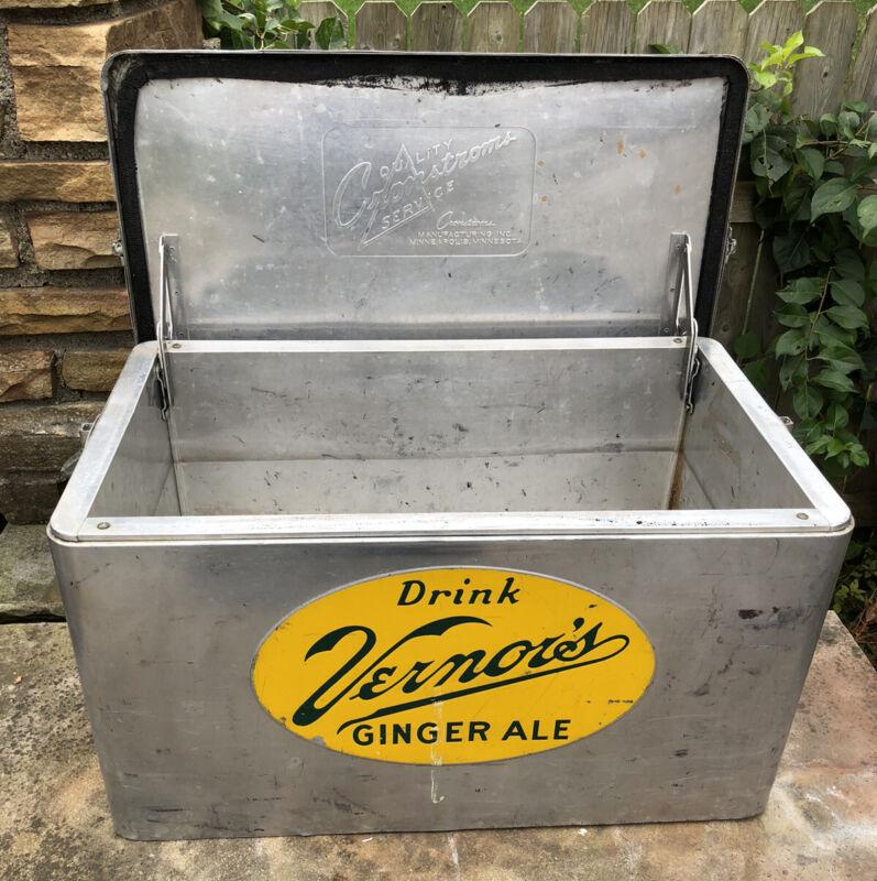 Vtg 1950s Vernors Ginger Ale Cooler Ice Chest Soda Pop Advertising Cronstroms Co