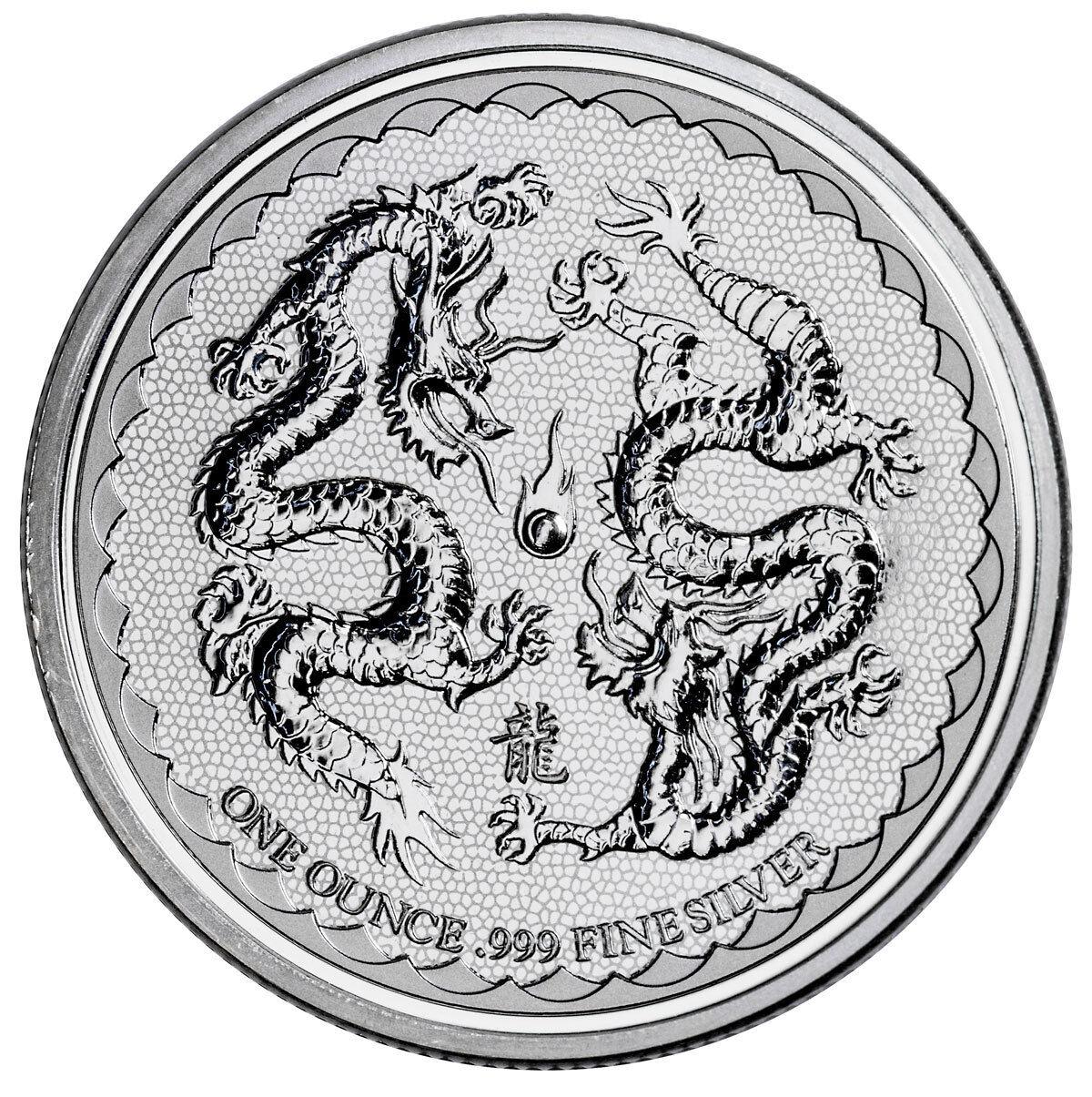 2018 Niue 1 oz Silver Double Dragon - Pearl of Wisdom $2 Coin GEM BU SKU53653