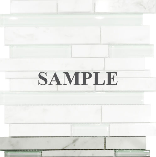 Sample Carrara White Marble Mint Glass Random Linear