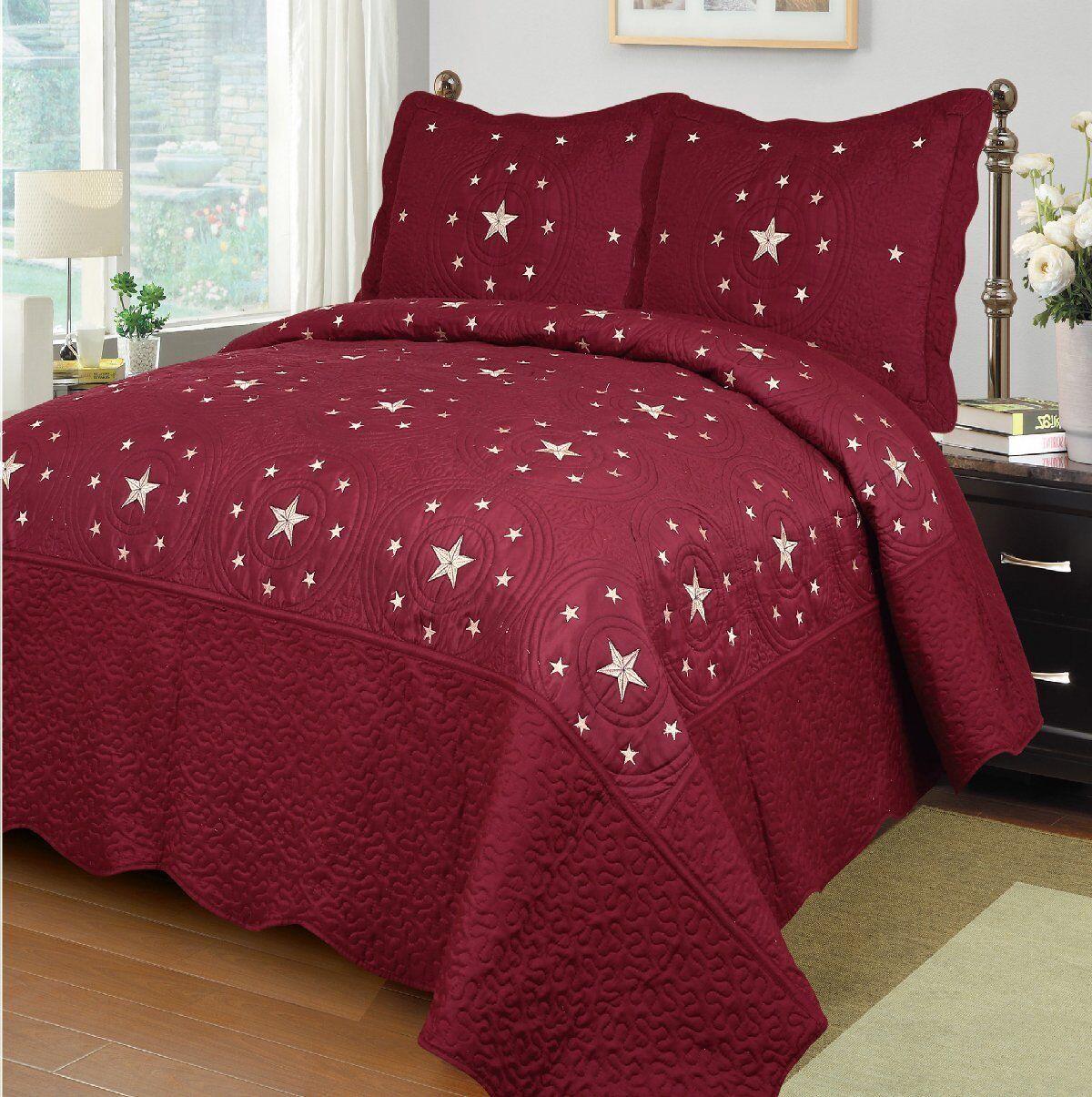 Fancy Linen 3pc Burgundy Star Bedspread Quilt Set Embroidery