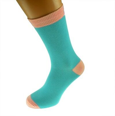 Turquoise Mens Socks with Pink heal and toes, popular Wedding Day Socks...