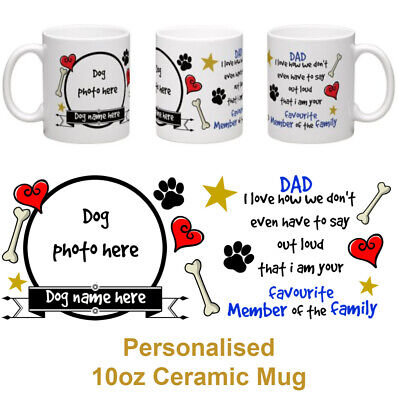 Dad gift from the dog personalised 10oz ceramic photo mug fathers day birthday