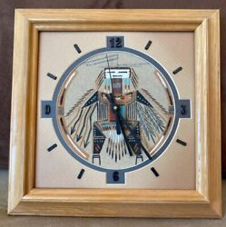 Southwestern Native American Style Hanging Wall Clock- Sand Painted. Open Boxed